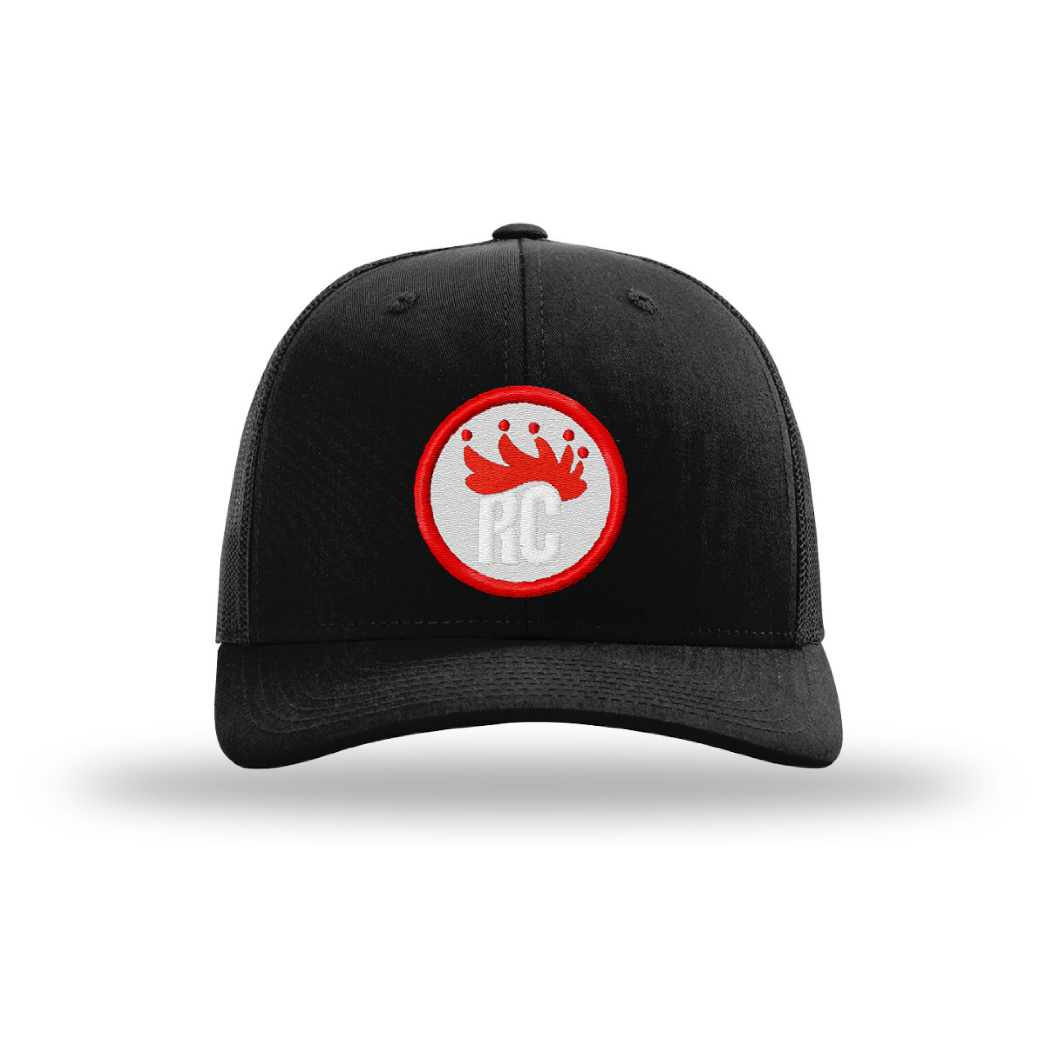 Mens Adjustable Trucker Hat | Rocky Cock Apparel Black on Black RC Style