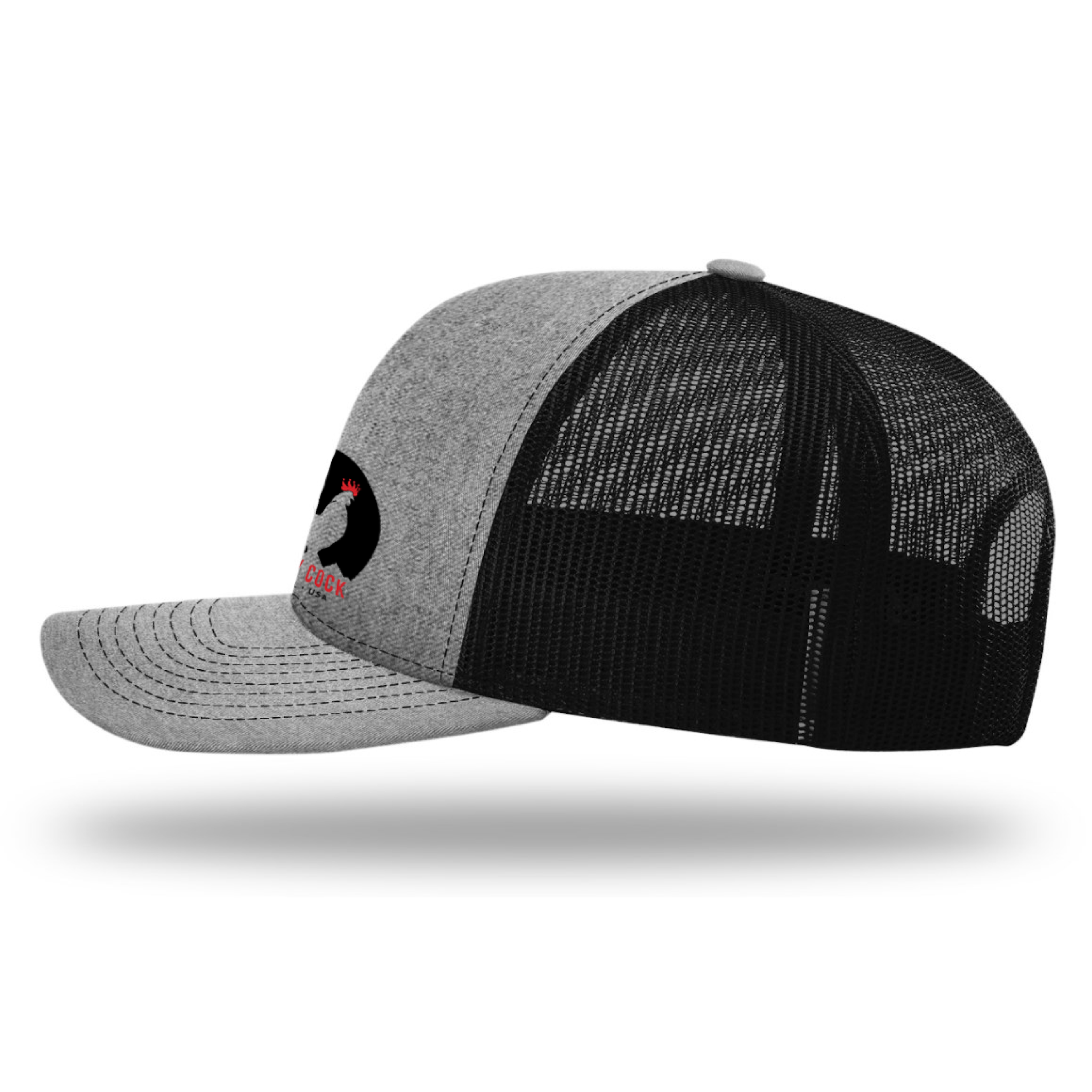 Men's Baseball Snapback Hat (Black and White Classic Rooster Front View) | Rocky Cock Apparel