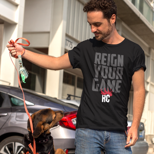Men's Popular Graphic Tshirt | Reign Your Game Rocky Cock Gray on Black Tee