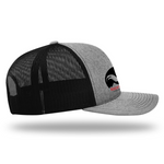 Men's Adventure Trucker Snapback (Black and White Classic Rooster Front View) | Rocky Cock Apparel
