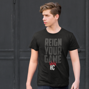 Men's Sports Graphic Tshirt | Reign Your Game Rocky Cock Gray on Black Tee