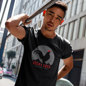 Men's Rooster Graphic Tshirt | Classic Gray on Black Rocky Cock Tee