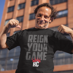 Men's Custom Graphic Tshirt | Reign Your Game Rocky Cock Gray on Black Tee