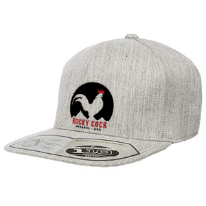 Heather Gray Flat Bill Adjustable Snapback | Rocky Cock Apparel