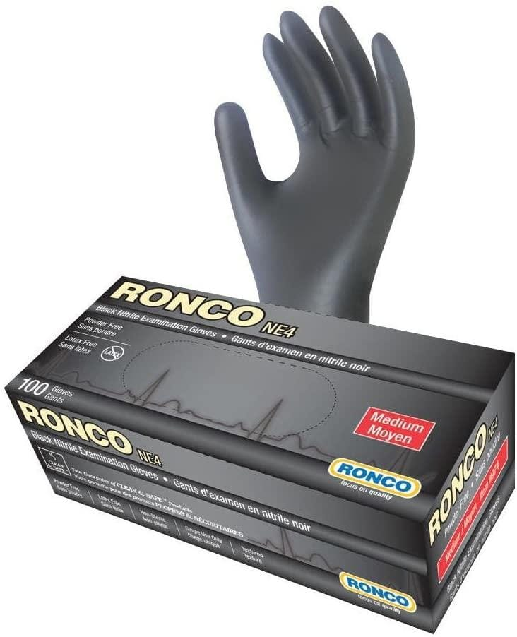 RONCO® NE4 Nitrile 4 mil Examination Gloves, 4 Mil Thickness, Powder Free, Disposable Medical & Industrial Glove, Medium (Box of 100, Black)