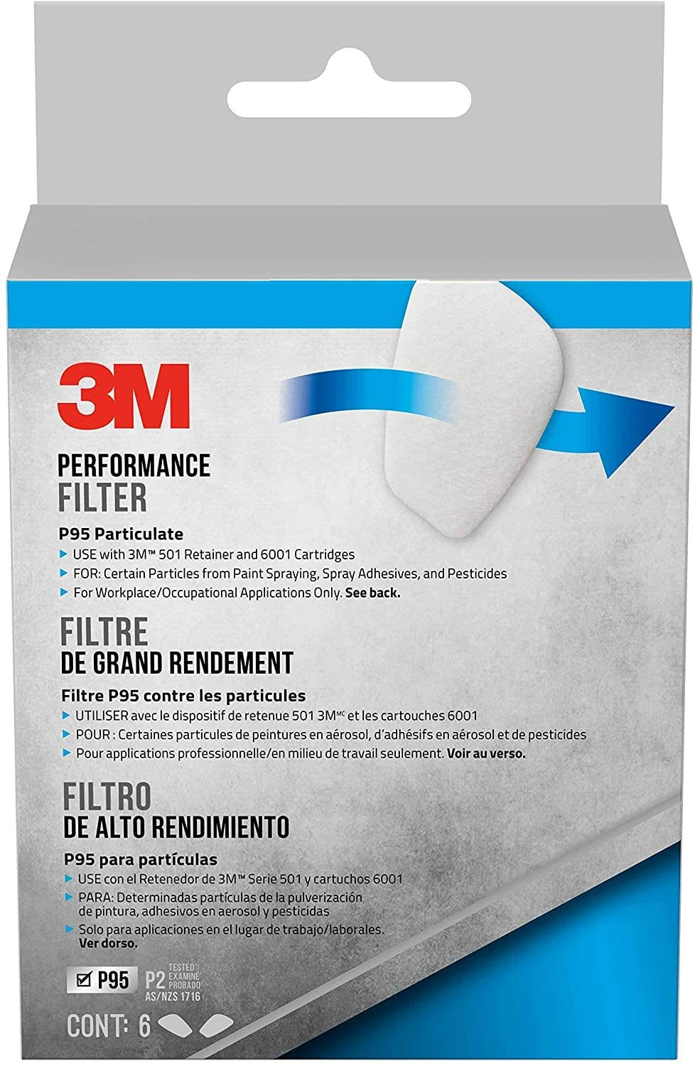 3M P95 Particulate Filter, 6 Filters