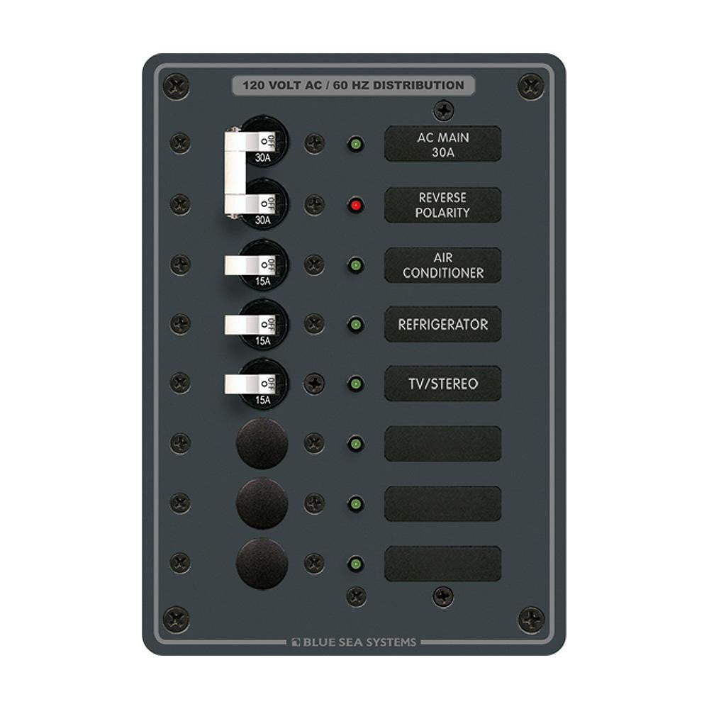 Blue Sea 8027 AC Main +6 Position Breaker Panel   (White Switches) - Got2Save