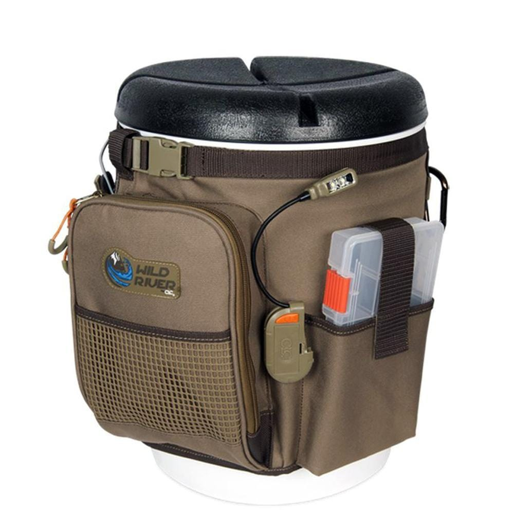 Wild River RIGGER 5 Gallon Bucket Organizer w-Lights, Plier Holder & Lanyard, 2 PT3500 Trays & Bucket w-Seat