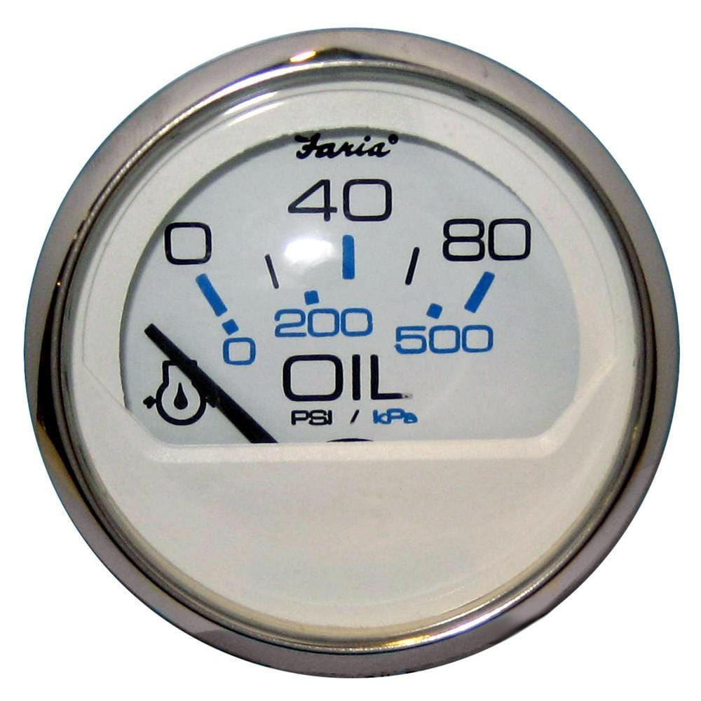 "Faria Chesapeake White SS 2"" Oil Pressure Gauge - 80 PSI"