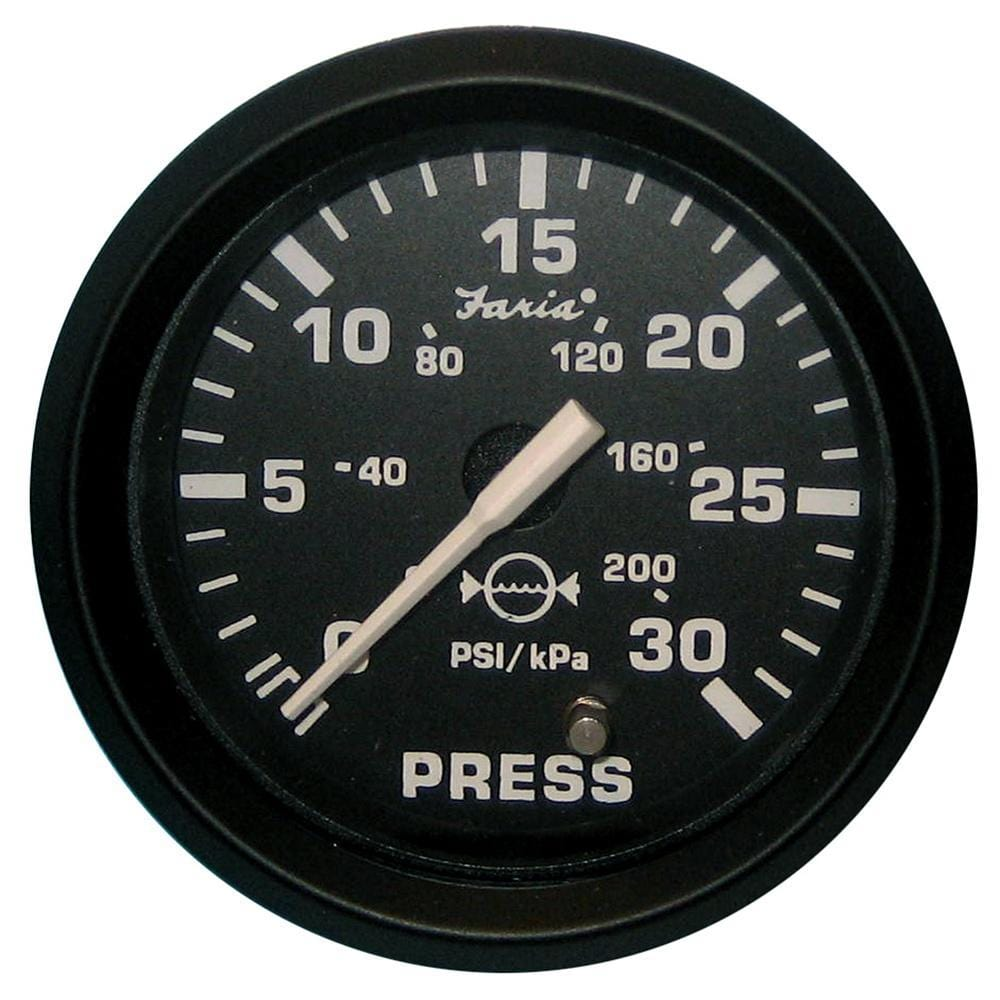 "Faria Euro Black 2"" Water Pressure Gauge Kit - 30 PSI"