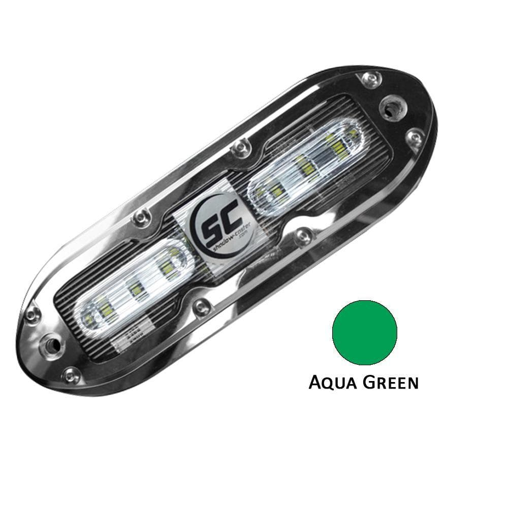 Shadow-Caster SCM-6 LED Underwater Light w-20' Cable - 316 SS Housing - Aqua Green