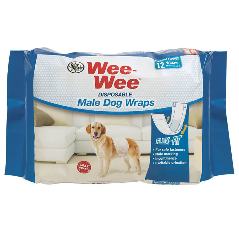 Four Paws Wee-wee Disposable Male Dog Wraps 12 Pack Medium - Large White
