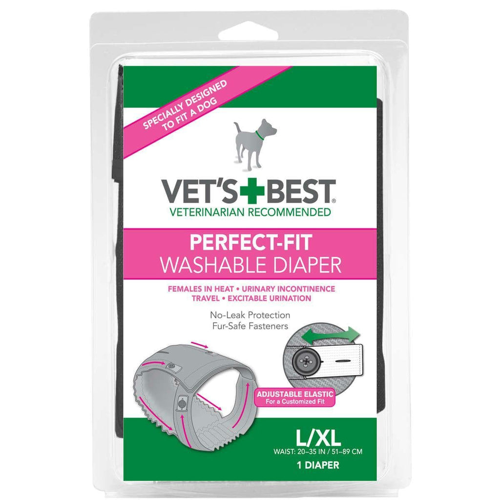 "Vet's Best Perfect-fit Washable Female Dog Diaper 1 Pack Large - Extra Large Gray 6"" X 2.13"" X 9"""