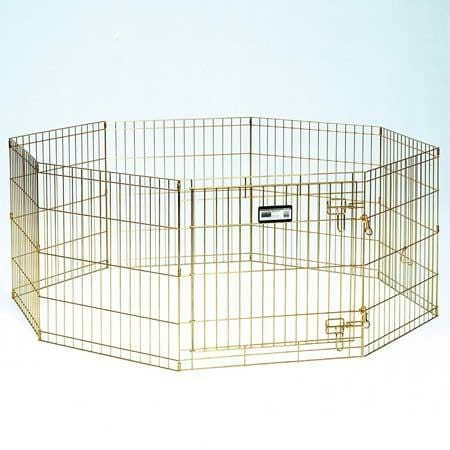 """Midwest Puppy Playpen With Plastic Pan And 1-2"""" Floor Grid Black 48"""""""