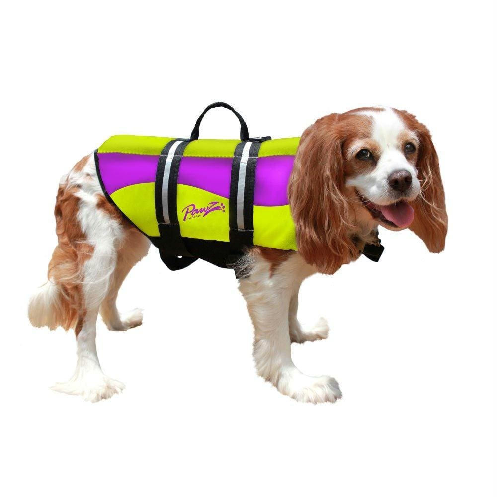 Pawz Pet Products Neoprene Dog Life Jacket Large Yellow - Purple