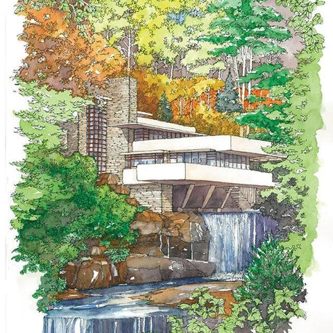 Fallingwater, Iconic View, Fall Print
