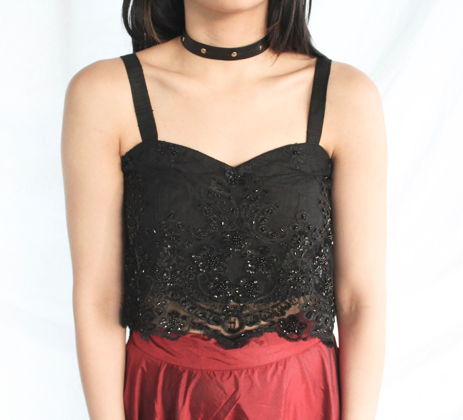Black Lace Bustier Flow Crop