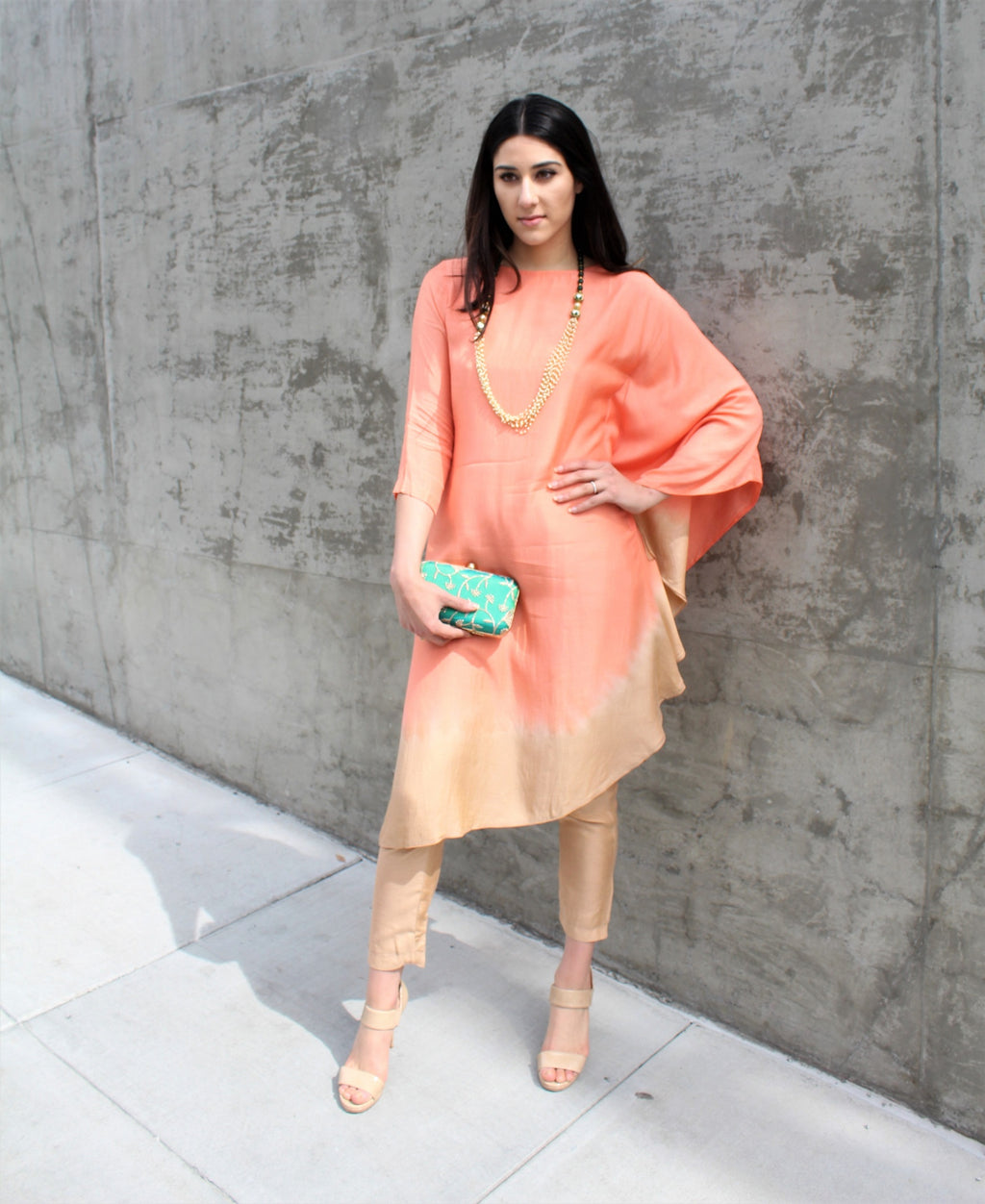 The Ombre Kaftan - Beige/Peach