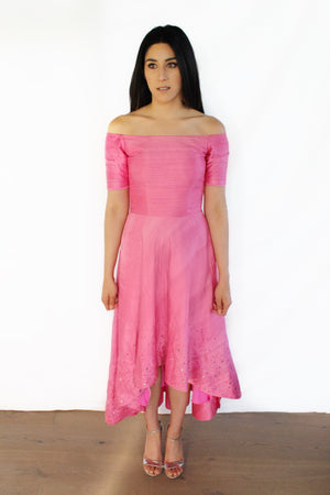 Pink Raw Silk Mirror Work HiLo Gown