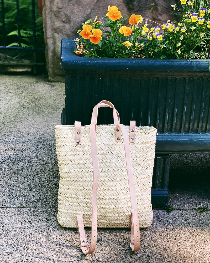 Straw Backpack - Tan Straps
