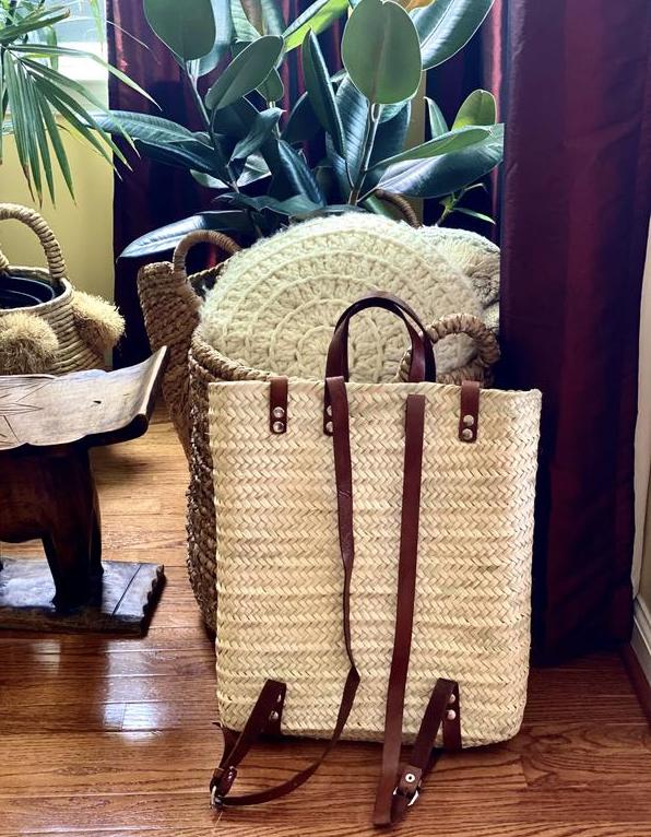 Straw Backpack - Brn Straps