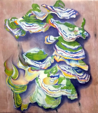 Original, Hand-painted, Silk Painting - Troublesome Fungus
