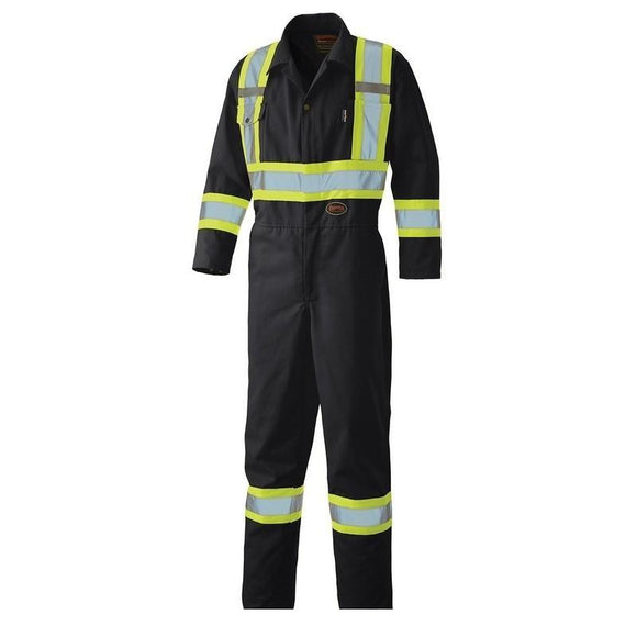 Hi-Viz Safety Poly/Cotton Coverall - Black (5519BK)