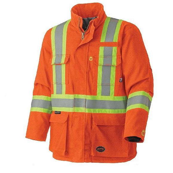 Flame Resistant Quilted Cotton Safety Parka - Orange (5533)