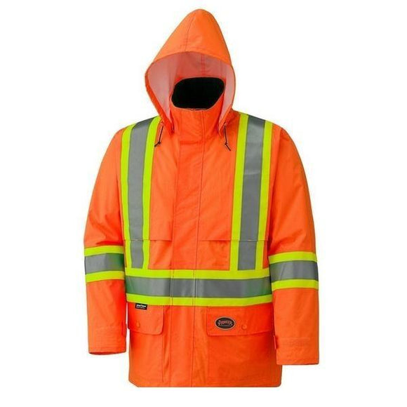 Hi-Viz 150D Lightweight Waterproof Safety Jacket With Detachable Hood