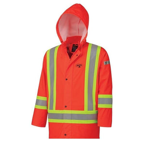 Flame Resistant PU Stretch Hi-Viz Waterproof Jacket - Orange (5892)