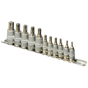 "11 Piece 1/4"" and 3/8"" Drive Non-Tamperproof TORX Bit Socket Set"
