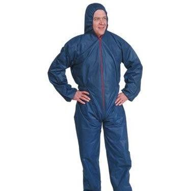 Clearance Disposable Polypropylene Protective Coverall with Hood and Elastic Cuff, Blue COPP50