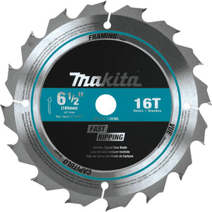 "Makita 6-1/2"" 16T Carbide-Tipped Circular Saw Blade, Framing T-01395"