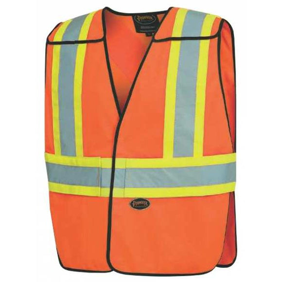 Pioneer 6954 Tricot Tearaway Safety Vest with Reflective Stripe - Orange