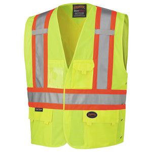 Pioneer 6955 Tricot Tearaway Safety Vest with Reflective Stripe - Yellow