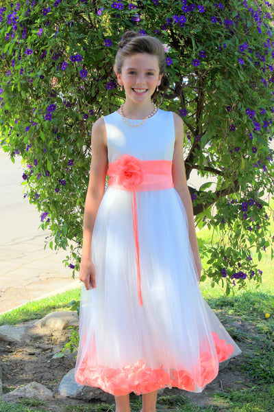 Ivory Tulle Floral Rose Petals Princess Wedding Pageant Recital Birthday Flower Girl Dress 007(1)