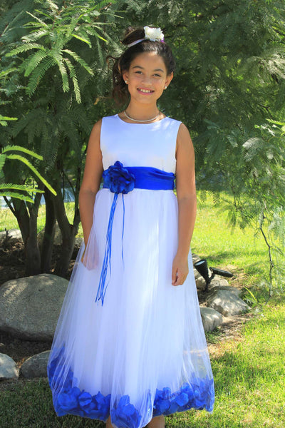 White Tulle Floral Rose Petals Princess Wedding Pageant Recital Birthday Flower Girl Dress 007(1)