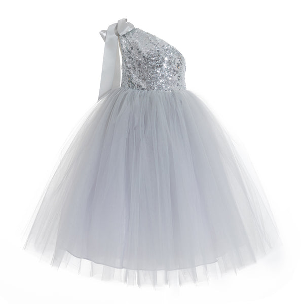 One-Shoulder Sequins Tutu Flower Girl Dress Junior Beauty Pageant Special Event Ballroom Gown 182(2)
