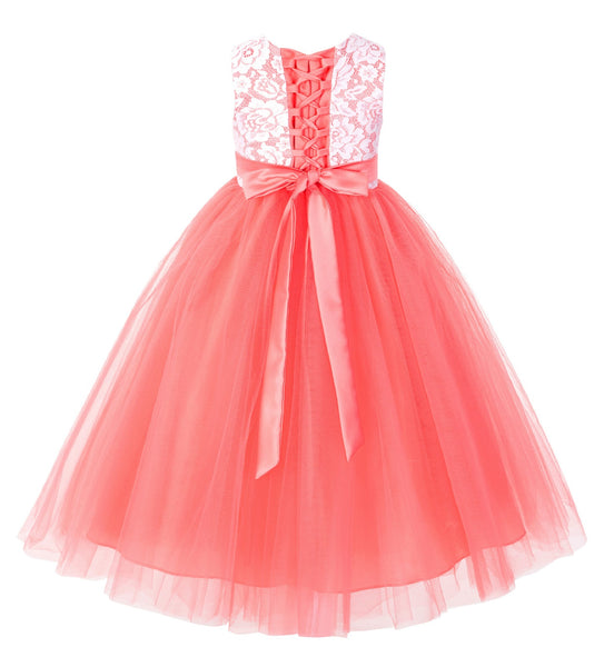 Lace Tulle Tutu Flower Girl Dress Ceremonial Gown Junior Pageant Dress Ballroom Gown 188