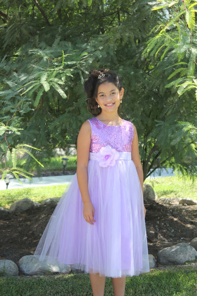 Sparkling Sequins Mesh Tulle Flower Girl Dress Wedding Pageant Toddler Holiday Gown Occasions 124