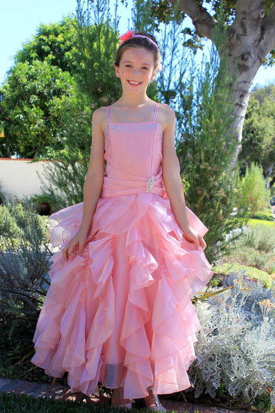 Elegant Rhinestone Organza Pleated Ruffled Beauty Pageant Special Occasion Flower Girl Dress 164S(2)