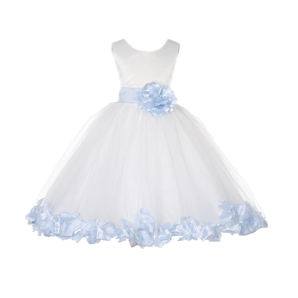Ivory Tulle Floral Petals Flower Girl Dress Special Occasions Junior Pageant Wedding Holiday 302S(6)