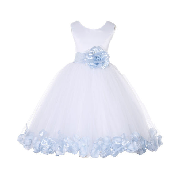 White Tulle Floral Petals Flower Girl Dress Special Occasions Junior Pageant Wedding Holiday 302S(5)