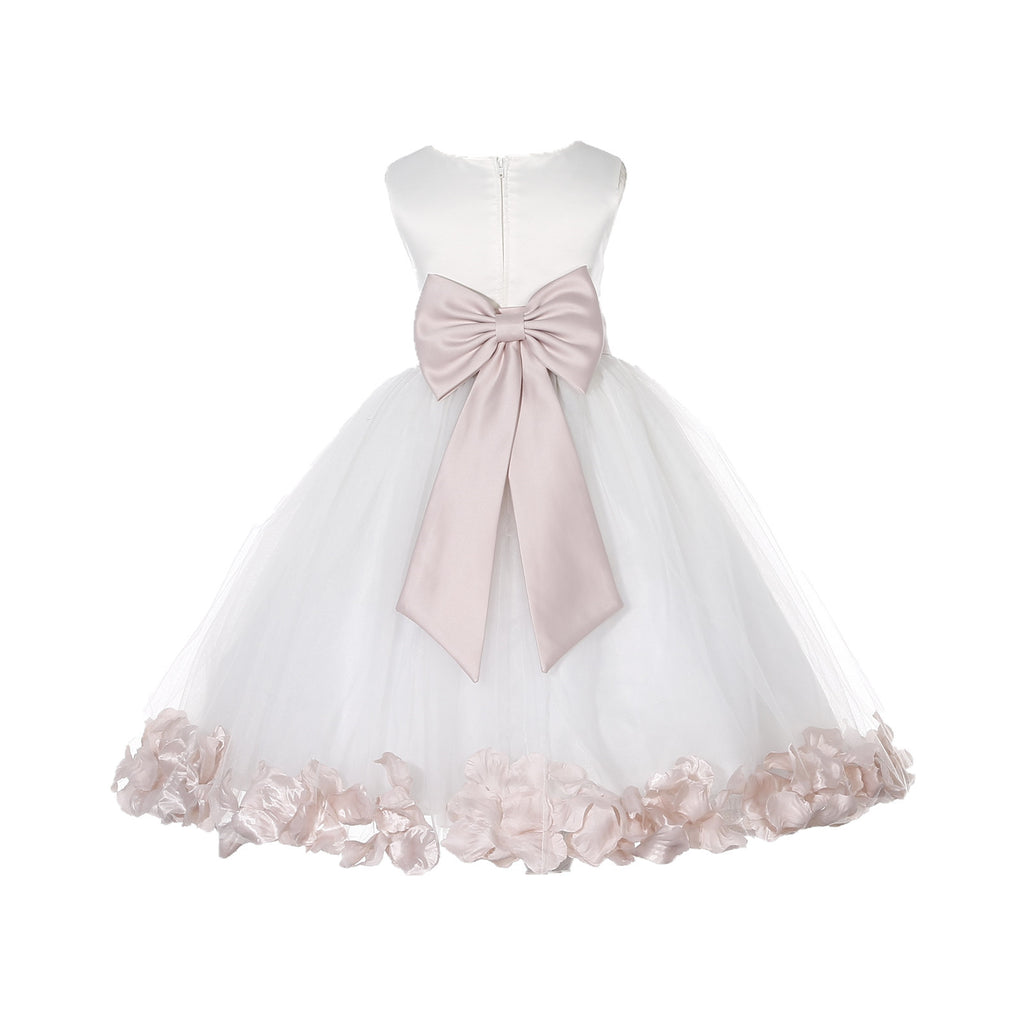 84daaf4511a Ivory Elegant Wedding Pageant Special Events Petals Flower Girl Dress with  Bow Tie Sash 302T4 ...