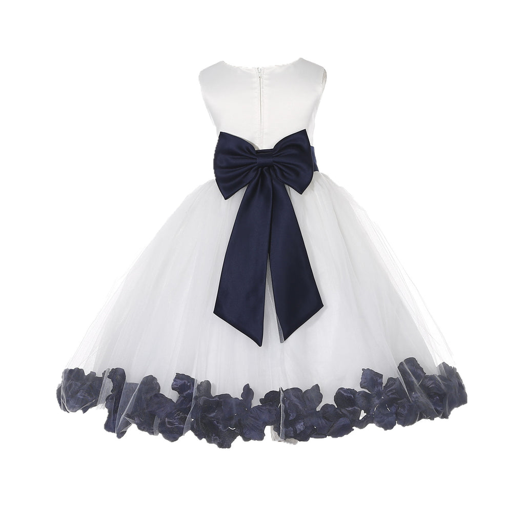 5c9122f745f ... Ivory Elegant Wedding Pageant Special Events Petals Flower Girl Dress  with Bow Tie Sash 302T4 ...
