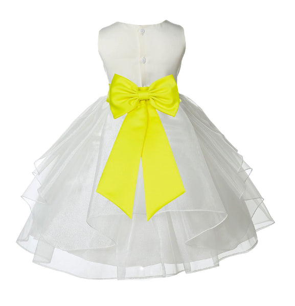 Ivory Satin Shimmering Organza Flower Girl Dress Junior Formal Pageant Baptism Christening 4613T(1)