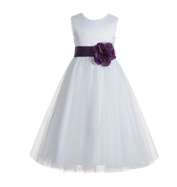 Ivory V-Back Lace Edge Flower Girl Dress Junior Pageant Special Occasion Formal Evening Gown 183T(2)
