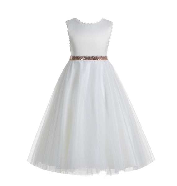 White V-Back Lace Edge Junior Flower Girl Dress Holy Baptism First Communion Christening Dresses 183