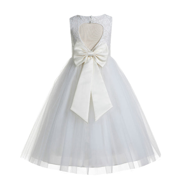 Ivory Floral Lace Heart Cutout Flower Girl Dress Communion Baptism Junior Bridesmaid Dress 172T(1)