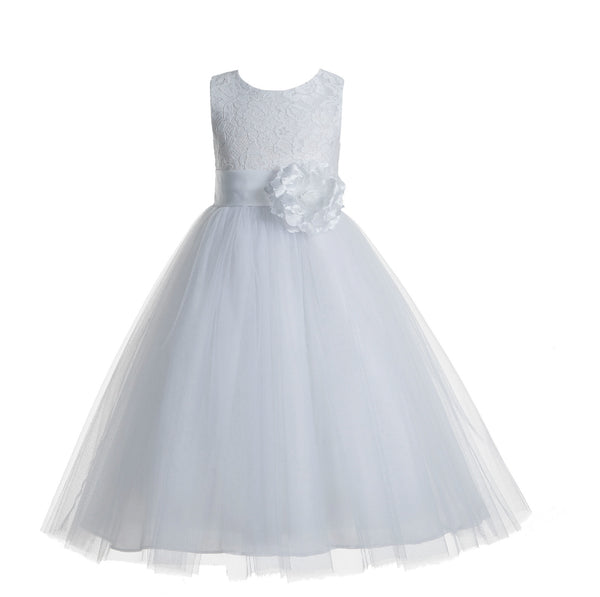 White Floral Lace Heart Cutout Flower Girl Dress Communion Baptism Junior Bridesmaid Dress 172T(1)